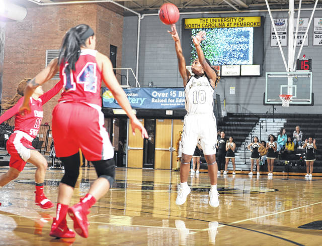UNCP Athletics Lady Braves Guard ShaNiya Lester Shoots During A 74 50 Home Loss To Columbus State On Saturday