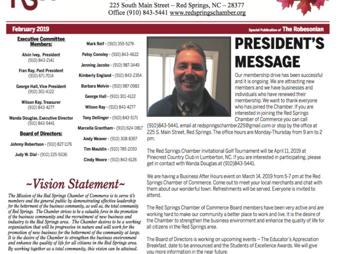 February Red Springs Chamber of Commerce Newsletter