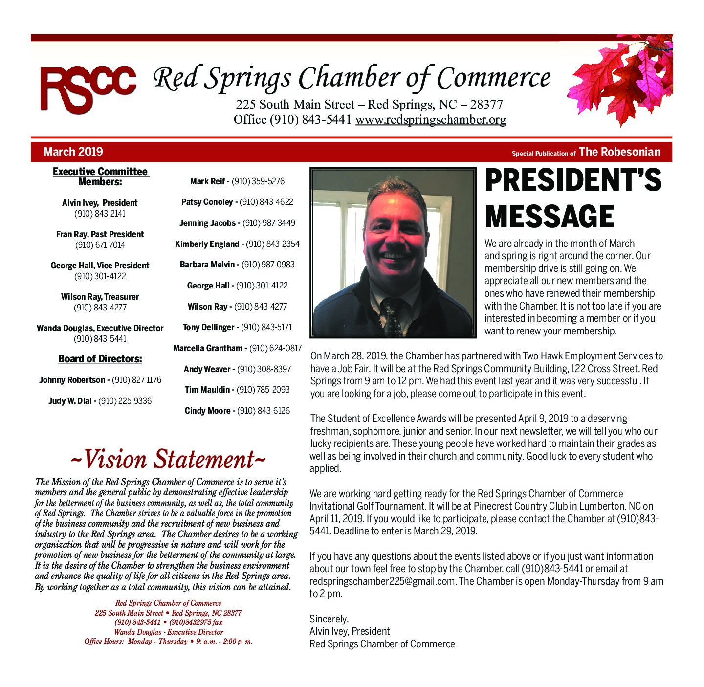 Red Springs Chamber of Commerce March Newsletter