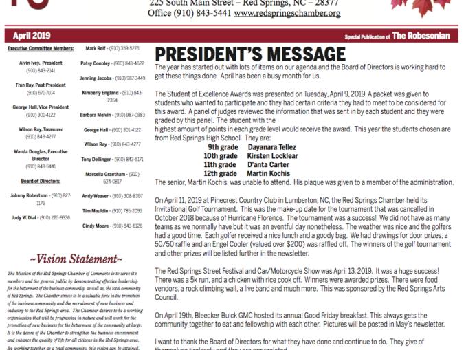 Red Springs Chamber of Commerce Newsletter – April