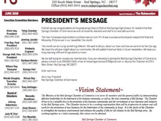Red Springs Chamber of Commerce Newsletter – June