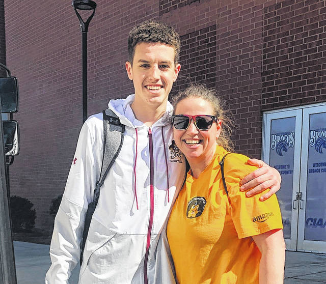 <p>Courtesy photo | Cheryl Locklear</p>                                 <p>Matt Locklear poses with Cheryl Locklear outside of the Fayetteville State's Capel Arena after the Pirates punched their ticket to the 4A state championship game in March.</p>