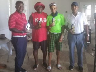 Courtesy photo                                 The team of Mark Conner, Justin Schurlock, William Powell and Greg Reynolds came in first place at the Arrested Potential, Inc. At-Risk Children Golf Tournament at the Pinecrest Country Club on July 25.