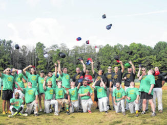 Courtesy photo                                 Players, coaches and umpires toss their hats up in the air after a game. Alternative Baseball provides players with autism and other special needs an opportunity to play the sport independently in an effort to push for inclusion in other areas outside of sports.