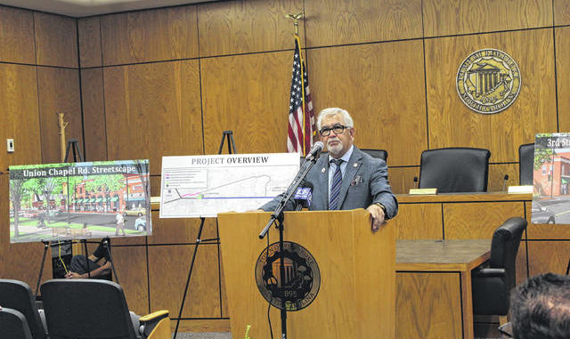 Pembroke Mayor Greg Cummings speaks Friday at an event to announce a BUILD Grant award in the amount of $5,262,618. The money will be used to pay for improvements in Pembroke's downtown area.