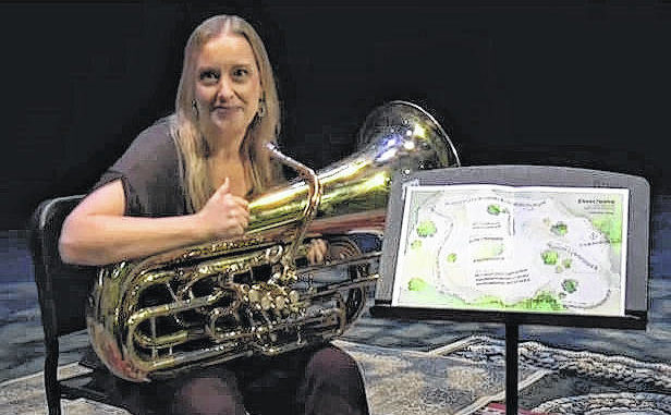 "Tuba player and euphonium expert Joanna Ross Hersey was recorded performing ""Eleven Twelve"" on Givens Performing Arts Center's stage. Hersey wrote the original piece in honor of Hildegard von Bingen, a medieval nun, composer, author, and theorist. The performance can be viewed for free on the theater's website.                                  Courtesy photo"