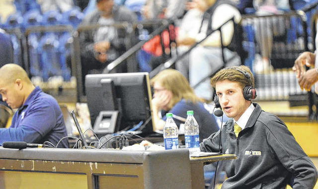 Contributed photo                                 Jon Gross broadcasts a UNC Pembroke game at Queens University in 2019. Gross is now in his second year as director of the UNCP Sports Network.
