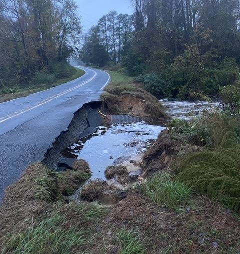 Rainfall causes road closures in Robeson County