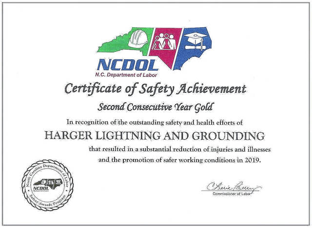 Harger Lightning & Grounding's facility in Fairmont gets Gold Safety Award for 2nd consecutive year