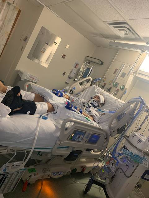 <p>Courtesy photo</p>                                 <p>Shown is Brooke Humphrey four months ago in intensive care after a water slide accident that resulted in a spinal cord injury. She returned Tuesday to her home in Saddletree.</p>