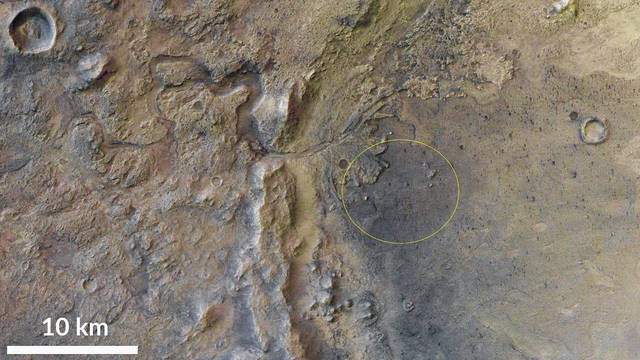 Shown is the Jezero crater on Mars, with the landing site of Perseverance circled in yellow. Perseverance is scheduled to land on Mars on Feb. 18.                                  Courtesy photo