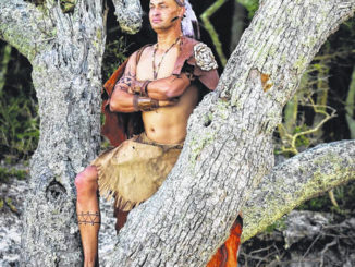 """Lumbee Tribe Rehab Coordinator John Oxendine is portrayed as Wingina in a marketing image for """"The Lost Colony,"""" an outdoor staged production in Manteo. This year's 82nd season will for the first time include indigenous actors playing all American Indian roles in the production, with the help of the Lumbee Tribe of North Carolina.                                  Courtesy photo 