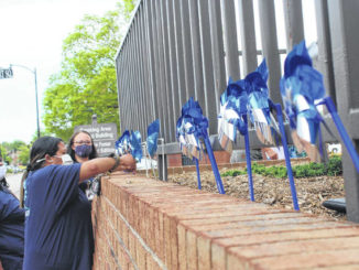 District attorney's office staff plant pinwheels to bring awareness to National Child Abuse Prevention Month