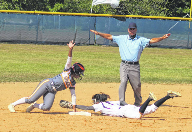 <p>Chris Stiles   The Robesonian</p>                                 <p>Fuquay-Varina's Kendall Smith (2) is called safe after stealing second base after Purnell Swett's Nyla Mitchell's dive in an attempted tag during Friday's third-round playoff game in Pembroke.</p>