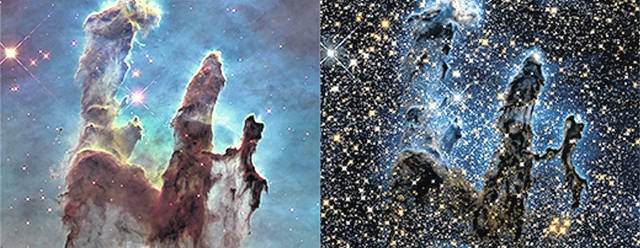 <p>On the left, Hubble's visible light camera sees the spires of the pillars in the nebula. On the right, Hubble's infrared camera sees the young stars, some with planets in tow, growing out of the nebula.</p>                                  <p>Courtesy photos</p>