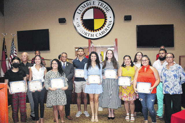 <p>Ten of the 44 2021 Scholarship and Agriculture recipients were recognized and presented certificates Thursday during the Lumbee Tribal Council meeting. The awards ranged from $500 to $1,000.</p>                                  <p>Tomeka Sinclair | The Robesonian</p>