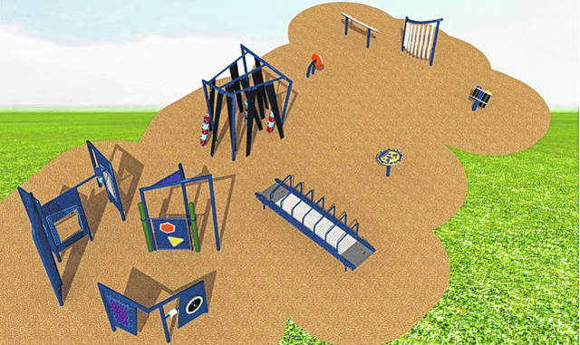 Shown is a rendering of the sensory playground that is to be installed at the Campbell Street community park in Lumberton as part as Talking Rain Beverage Company's second annual Cheers to You Town Beautification program. Installation is expected to be completed this fall.