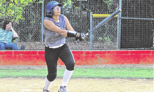 Chris Stiles | The Robesonian                                 Robeson County Post 5's Santana Anderson watches a home run to right field during a game earlier this season. Anderson had three home runs in Wednesday's 13-8 win over Port City Post 545 in Game 1 of the Area II championship series.