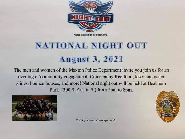 Maxton police schedule National Night Out event for Tuesday