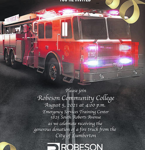 Robeson Community College to receive fire truck donation from City of Lumberton