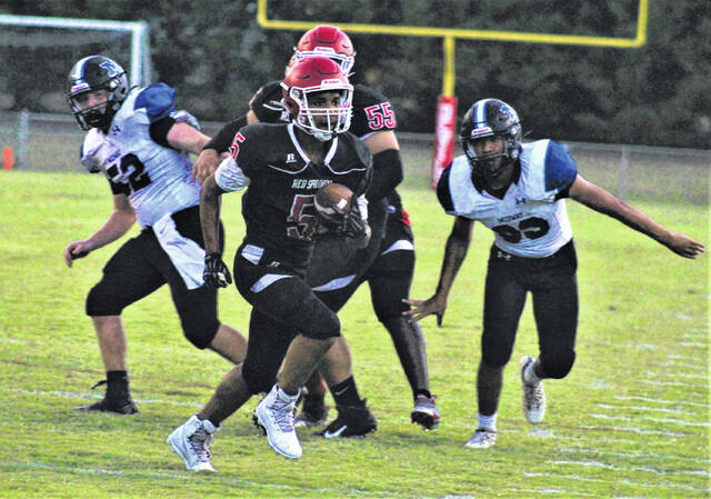 <p>Chris Stiles   The Robesonian</p>                                 <p>Red Springs' Mishon Wilson (5) runs into the end zone for a touchdown during Friday's game against Midway in Red Springs.</p>